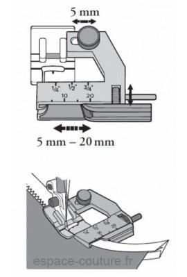 pied pose-biais réglable de 5 à 20 mm pour tous les modèles Janome.